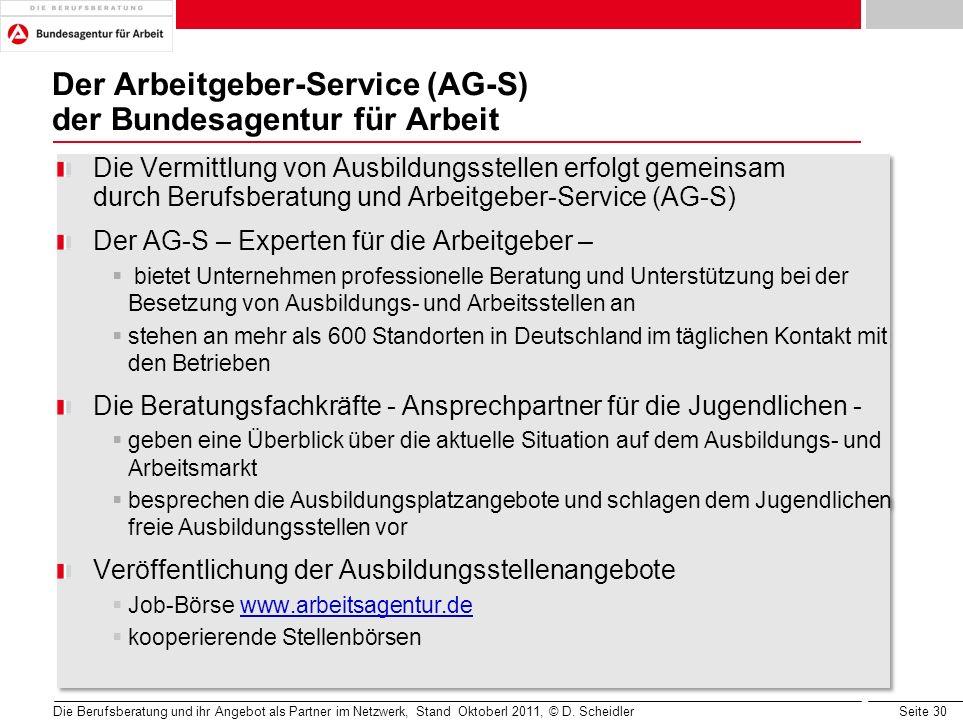 Seite 30 Der Arbeitgeber-Service (AG-S) der Bundesagentur für Arbeit Die Vermittlung von Ausbildungsstellen erfolgt gemeinsam durch Berufsberatung und