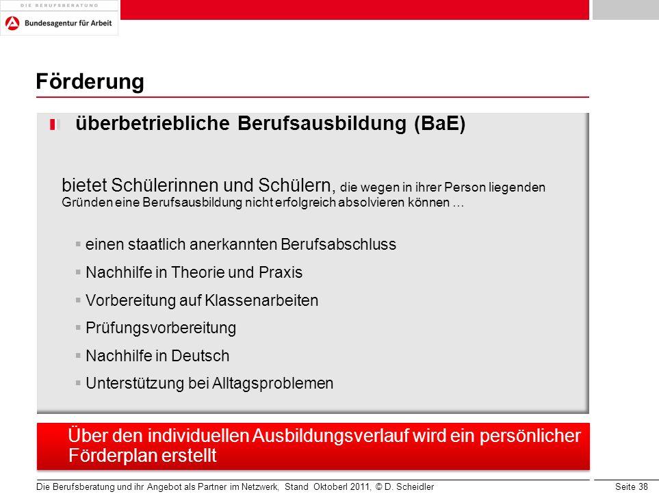 Seite 38 Die Berufsberatung und ihr Angebot als Partner im Netzwerk, Stand Oktoberl 2011, © D. Scheidler Förderung überbetriebliche Berufsausbildung (
