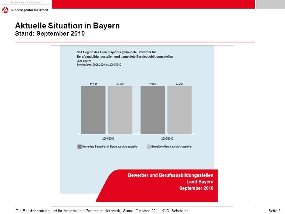 Seite 5 Aktuelle Situation in Bayern Stand: September 2010 Die Berufsberatung und ihr Angebot als Partner im Netzwerk, Stand Oktoberl 2011, © D. Schei