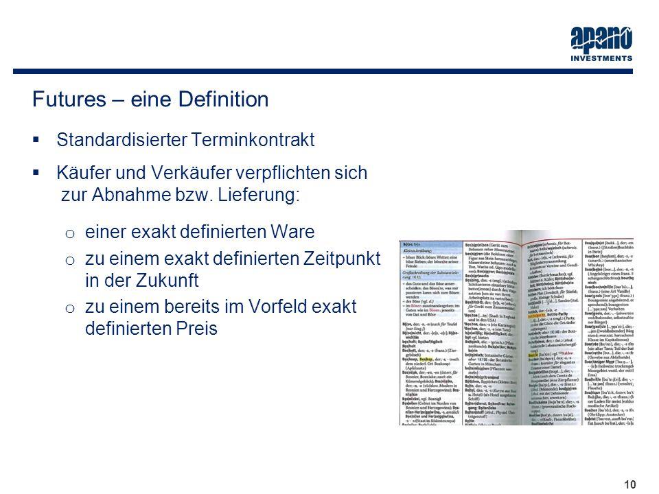 Das Netzwerk10 Standardisierter Terminkontrakt Käufer und Verkäufer verpflichten sich zur Abnahme bzw. Lieferung: o einer exakt definierten Ware o zu