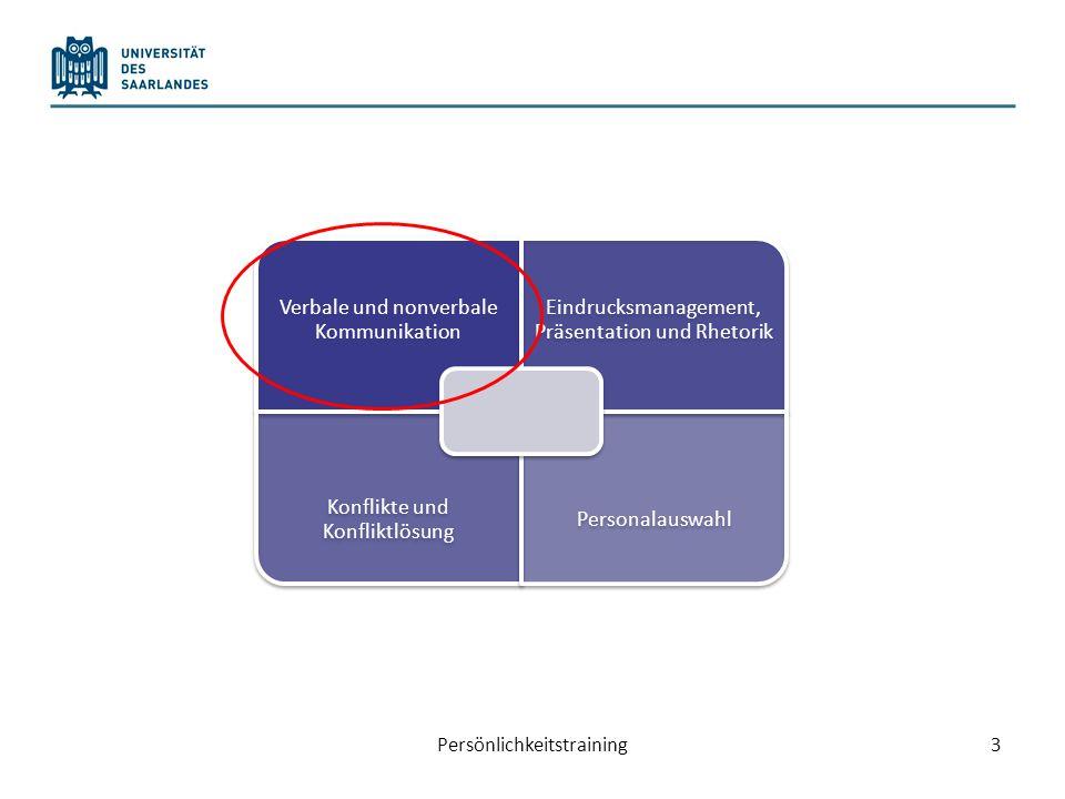 Persönlichkeitstraining3 Verbale und nonverbale Kommunikation Eindrucksmanagement, Präsentation und Rhetorik Konflikte und Konfliktlösung Personalausw