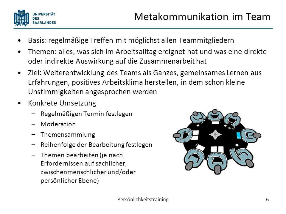 Metakommunikation im Team Basis: regelmäßige Treffen mit möglichst allen Teammitgliedern Themen: alles, was sich im Arbeitsalltag ereignet hat und was
