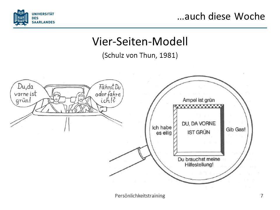 …auch diese Woche Vier-Seiten-Modell (Schulz von Thun, 1981) 7Persönlichkeitstraining