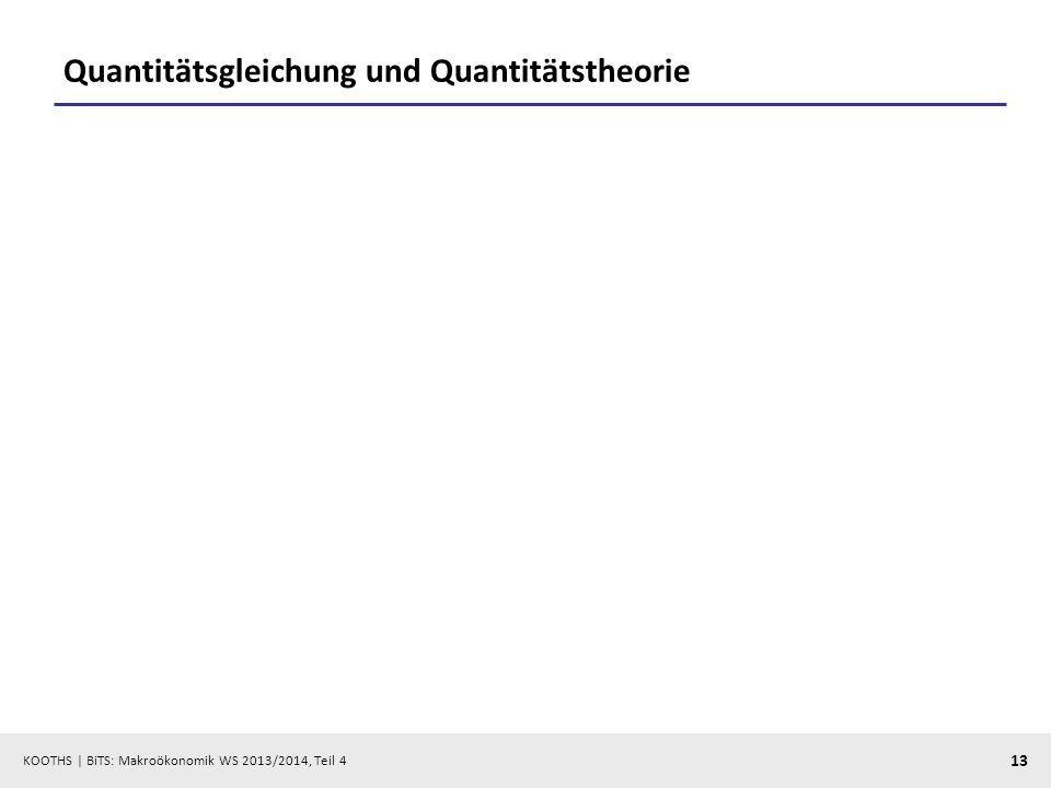 KOOTHS | BiTS: Makroökonomik WS 2013/2014, Teil 4 13 Quantitätsgleichung und Quantitätstheorie
