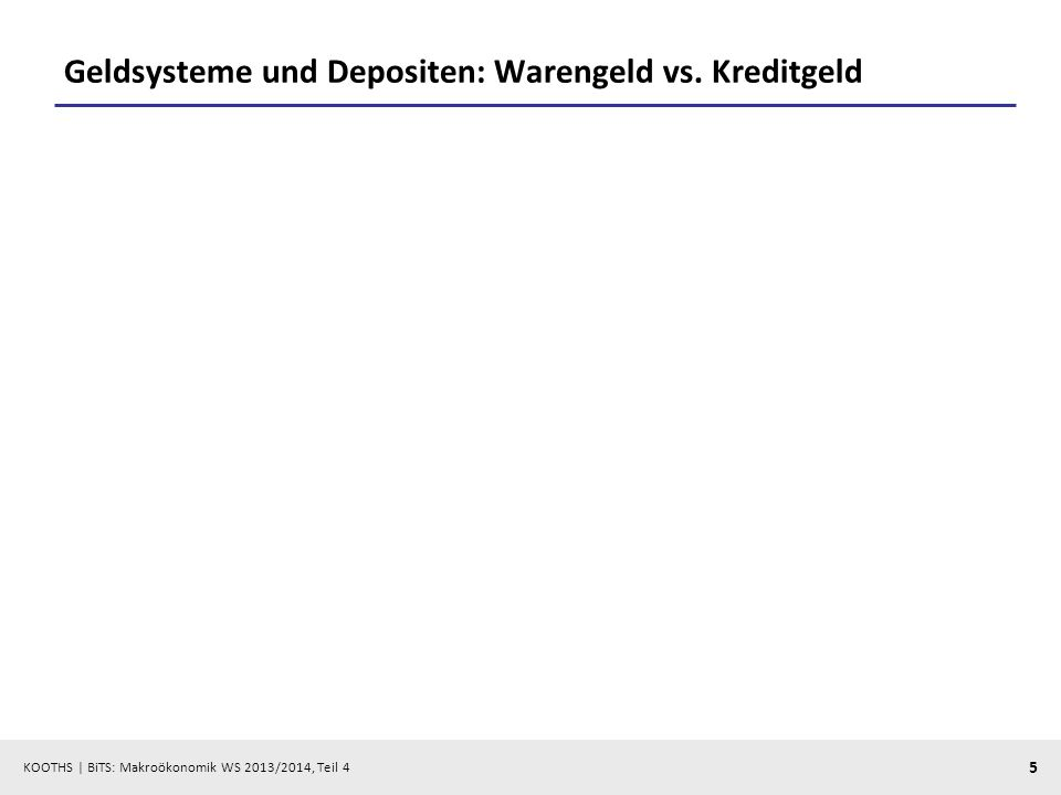 KOOTHS | BiTS: Makroökonomik WS 2013/2014, Teil 4 5 Geldsysteme und Depositen: Warengeld vs. Kreditgeld