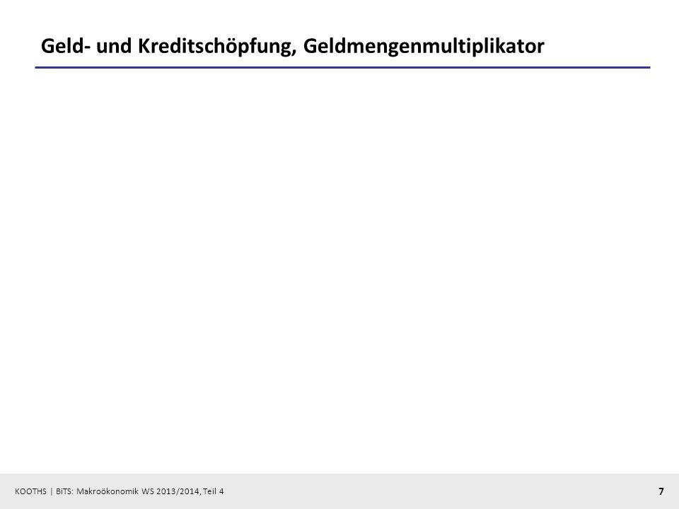 KOOTHS | BiTS: Makroökonomik WS 2013/2014, Teil 4 7 Geld- und Kreditschöpfung, Geldmengenmultiplikator