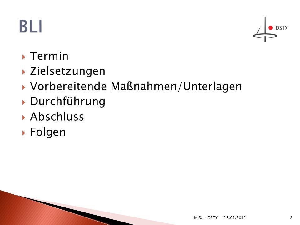 Termin Zielsetzungen Vorbereitende Maßnahmen/Unterlagen Durchführung Abschluss Folgen 18.01.2011 2M.S. - DSTY