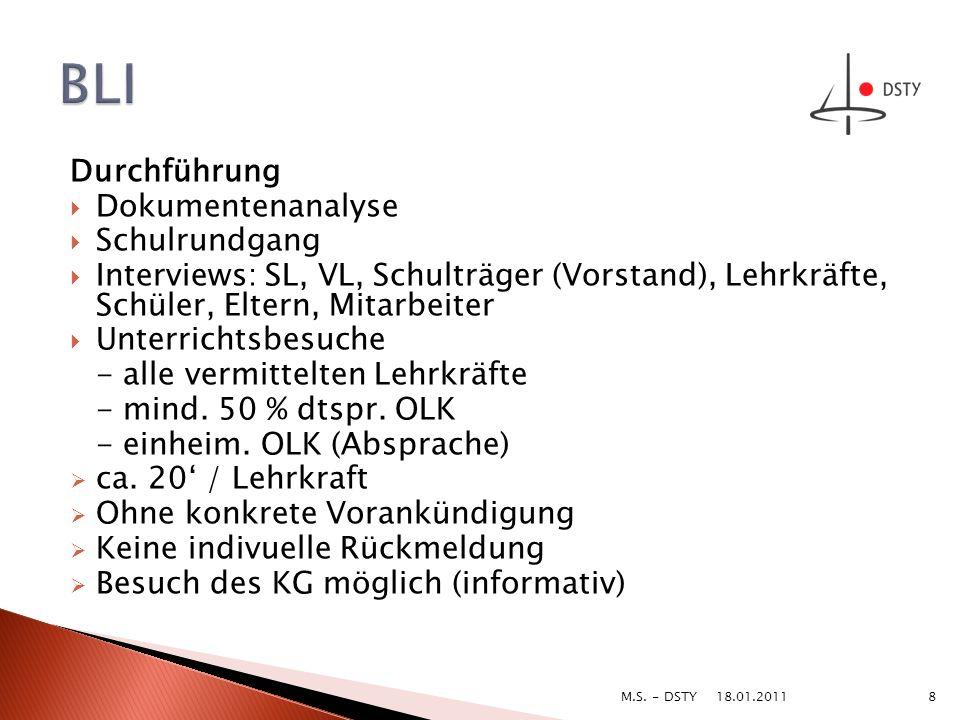 Durchführung Dokumentenanalyse Schulrundgang Interviews: SL, VL, Schulträger (Vorstand), Lehrkräfte, Schüler, Eltern, Mitarbeiter Unterrichtsbesuche -