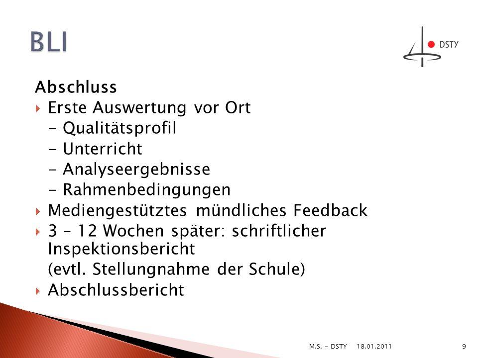Abschluss Erste Auswertung vor Ort - Qualitätsprofil - Unterricht - Analyseergebnisse - Rahmenbedingungen Mediengestütztes mündliches Feedback 3 – 12