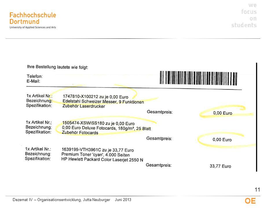 Dezernat IV – Organisationsentwicklung, Jutta Neuburger Juni 2013 OE 11