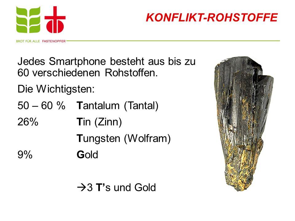 KONFLIKT-ROHSTOFFE Jedes Smartphone besteht aus bis zu 60 verschiedenen Rohstoffen. Die Wichtigsten: 50 – 60 % Tantalum (Tantal) 26% Tin (Zinn) Tungst