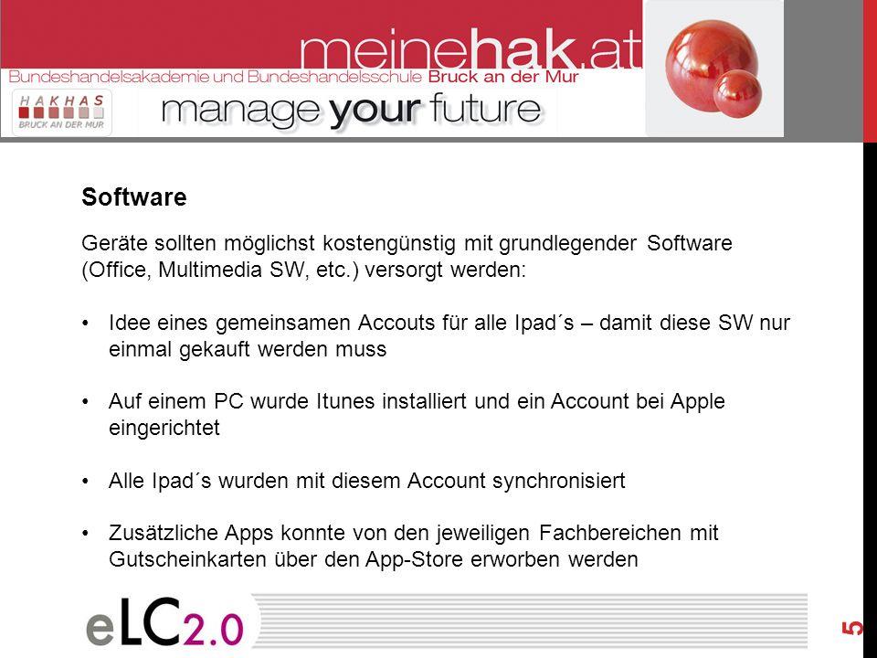 5 Software Geräte sollten möglichst kostengünstig mit grundlegender Software (Office, Multimedia SW, etc.) versorgt werden: Idee eines gemeinsamen Acc