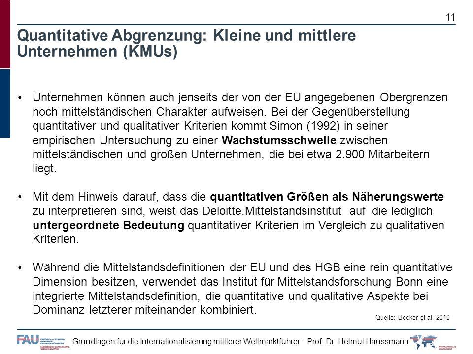 Prof. Dr. Helmut HaussmannGrundlagen für die Internationalisierung mittlerer Weltmarktführer Unternehmen können auch jenseits der von der EU angegeben