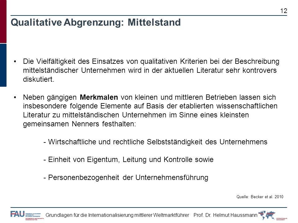Prof. Dr. Helmut HaussmannGrundlagen für die Internationalisierung mittlerer Weltmarktführer Die Vielfältigkeit des Einsatzes von qualitativen Kriteri