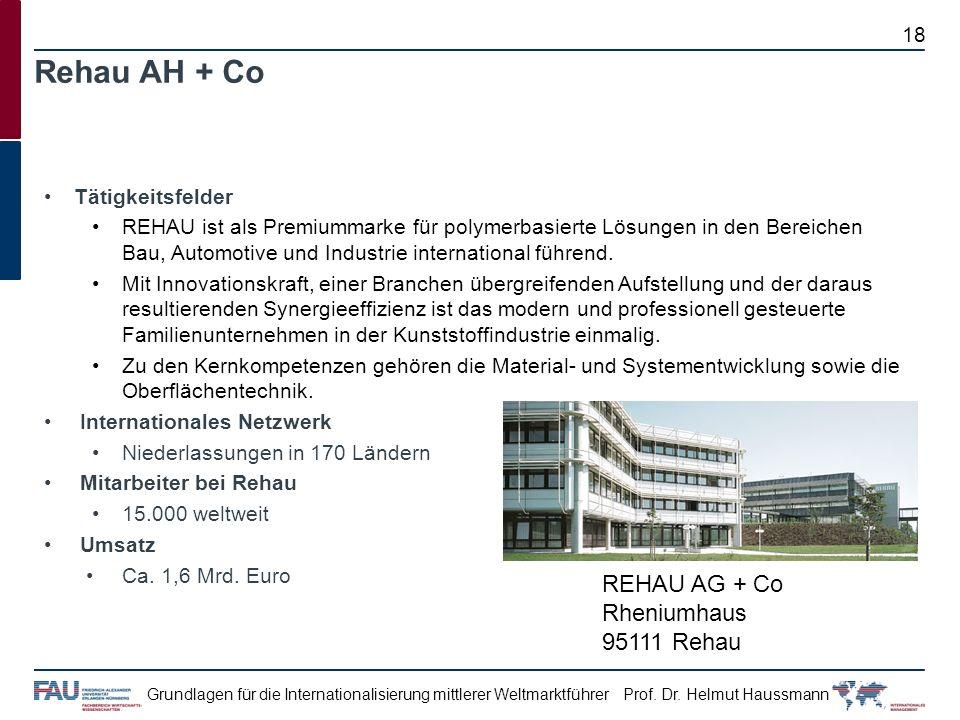 Prof. Dr. Helmut HaussmannGrundlagen für die Internationalisierung mittlerer Weltmarktführer Tätigkeitsfelder REHAU ist als Premiummarke für polymerba