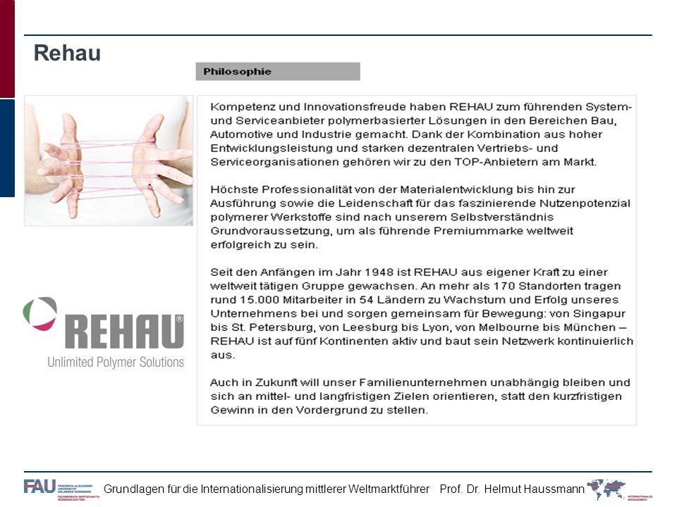 Prof. Dr. Helmut HaussmannGrundlagen für die Internationalisierung mittlerer Weltmarktführer Rehau