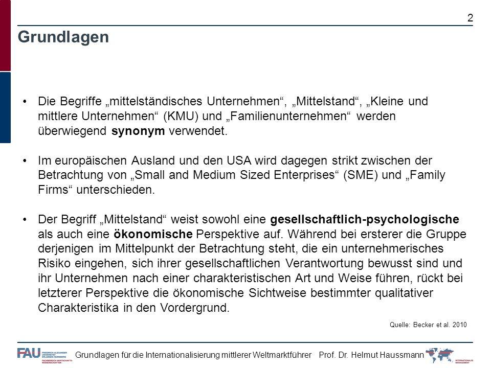 Prof. Dr. Helmut HaussmannGrundlagen für die Internationalisierung mittlerer Weltmarktführer Grundlagen Die Begriffe mittelständisches Unternehmen, Mi