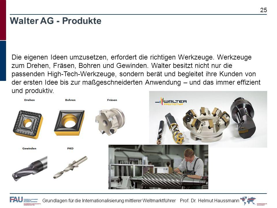 Prof. Dr. Helmut HaussmannGrundlagen für die Internationalisierung mittlerer Weltmarktführer Walter AG - Produkte Die eigenen Ideen umzusetzen, erford