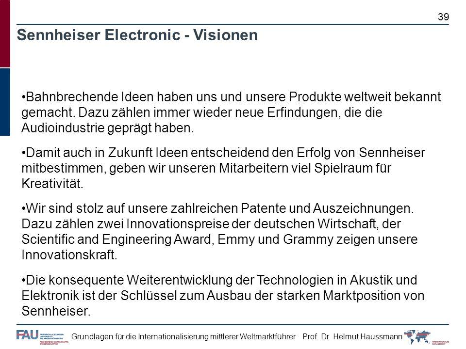 Prof. Dr. Helmut HaussmannGrundlagen für die Internationalisierung mittlerer Weltmarktführer Sennheiser Electronic - Visionen Bahnbrechende Ideen habe