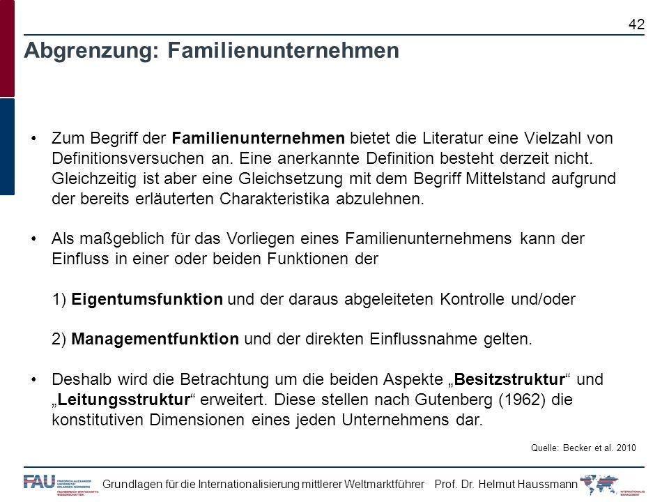 Prof. Dr. Helmut HaussmannGrundlagen für die Internationalisierung mittlerer Weltmarktführer Zum Begriff der Familienunternehmen bietet die Literatur