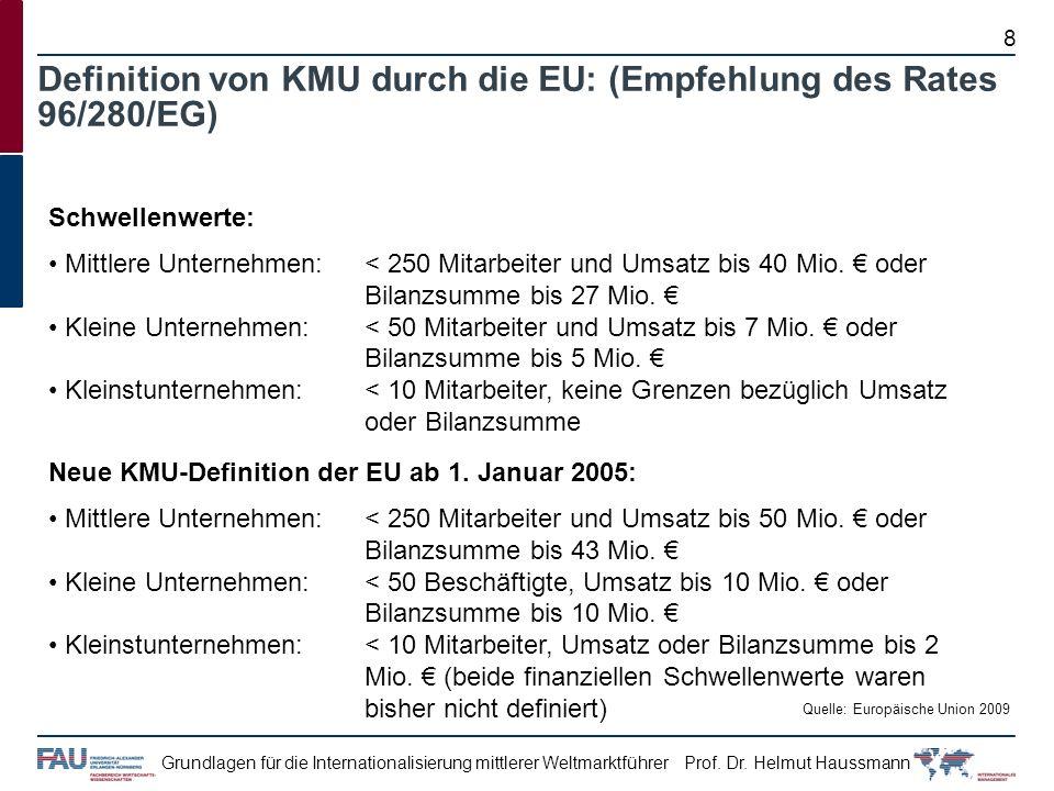 Prof. Dr. Helmut HaussmannGrundlagen für die Internationalisierung mittlerer Weltmarktführer Definition von KMU durch die EU: (Empfehlung des Rates 96