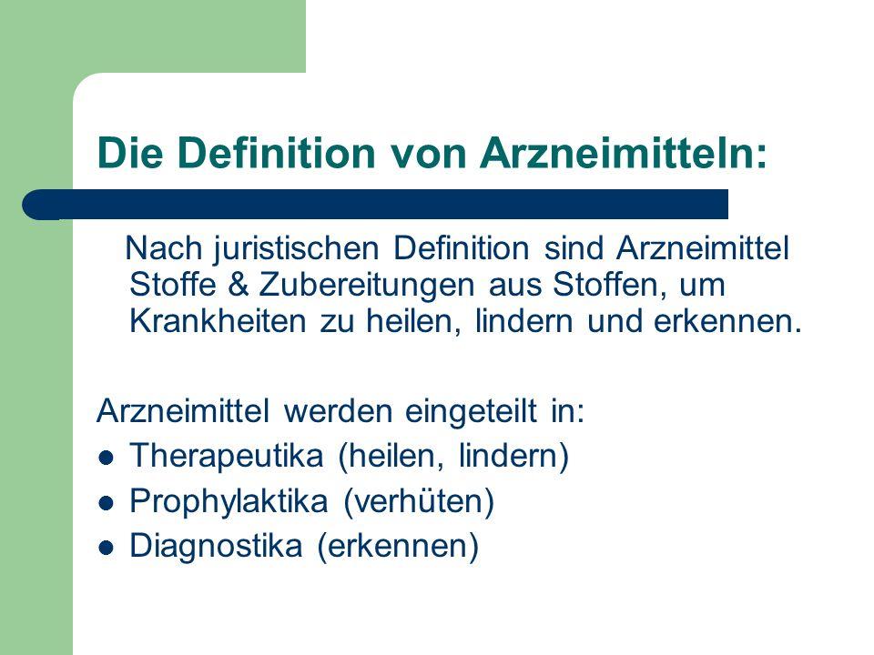 Die Definition von Arzneimitteln: Nach juristischen Definition sind Arzneimittel Stoffe & Zubereitungen aus Stoffen, um Krankheiten zu heilen, lindern und erkennen.