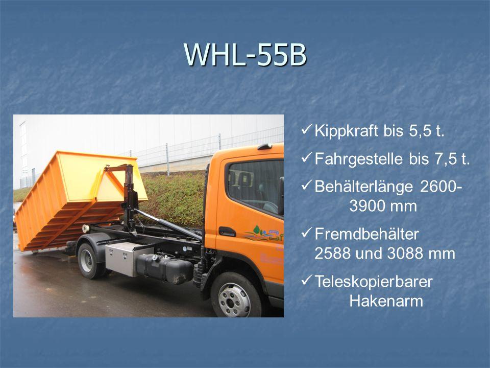 WHL-55B Kippkraft bis 5,5 t. Fahrgestelle bis 7,5 t. Behälterlänge 2600- 3900 mm Fremdbehälter 2588 und 3088 mm Teleskopierbarer Hakenarm