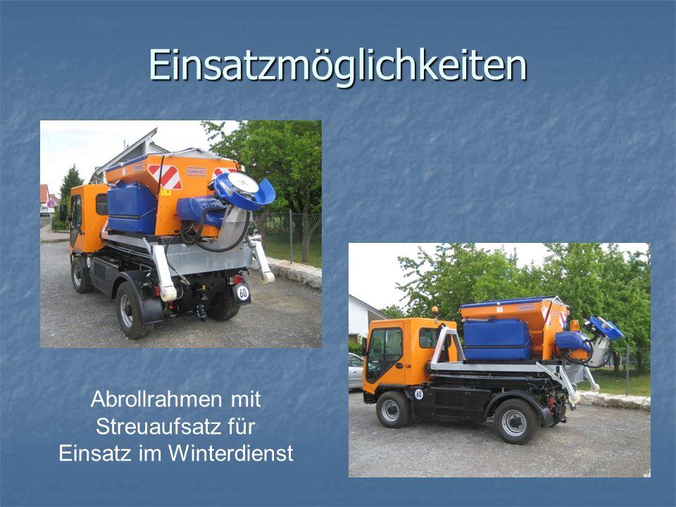 Einsatzmöglichkeiten Abrollrahmen mit Streuaufsatz für Einsatz im Winterdienst