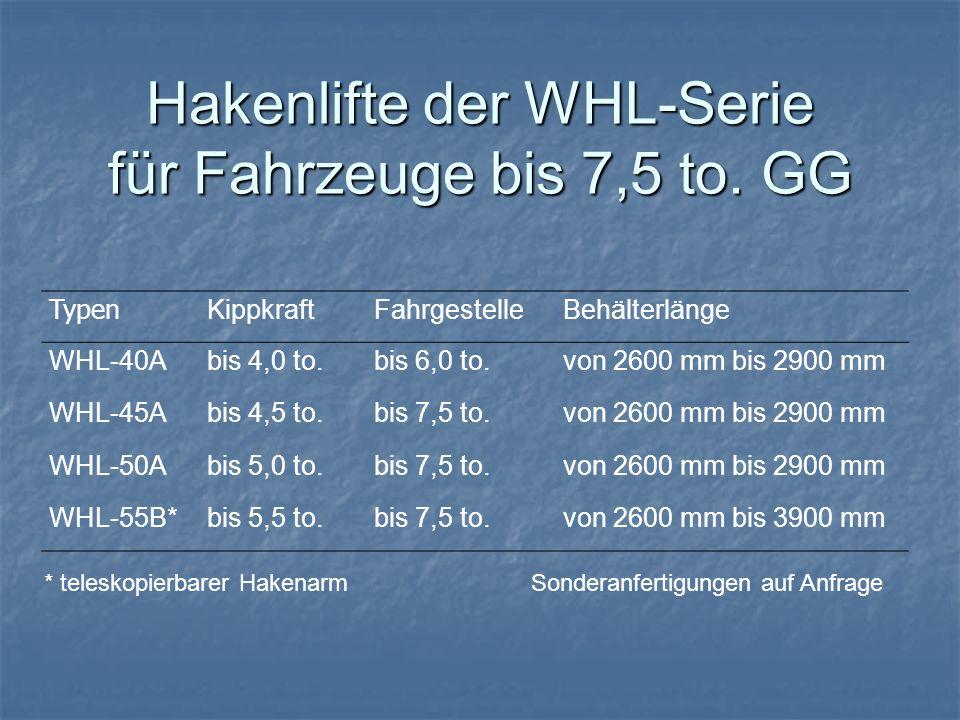 Typen KippkraftFahrgestelleBehälterlänge WHL-40Abis 4,0 to.bis 6,0 to.von 2600 mm bis 2900 mm WHL-45Abis 4,5 to.bis 7,5 to.von 2600 mm bis 2900 mm WHL