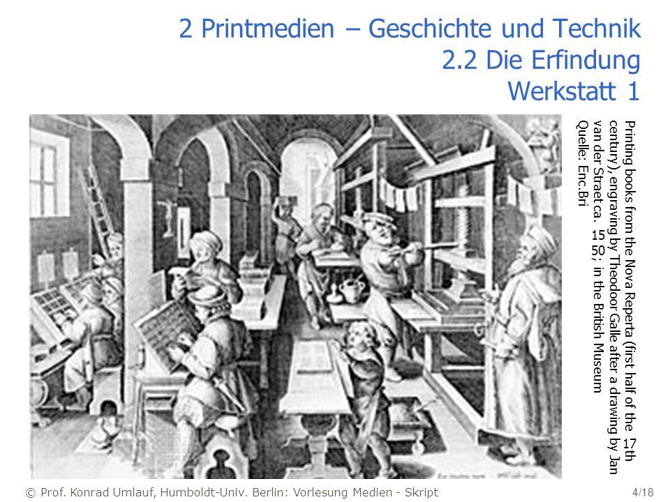 © Prof. Konrad Umlauf, Humboldt-Univ. Berlin: Vorlesung Medien - Skript 4/18 2 Printmedien – Geschichte und Technik 2.2 Die Erfindung Werkstatt 1 Prin