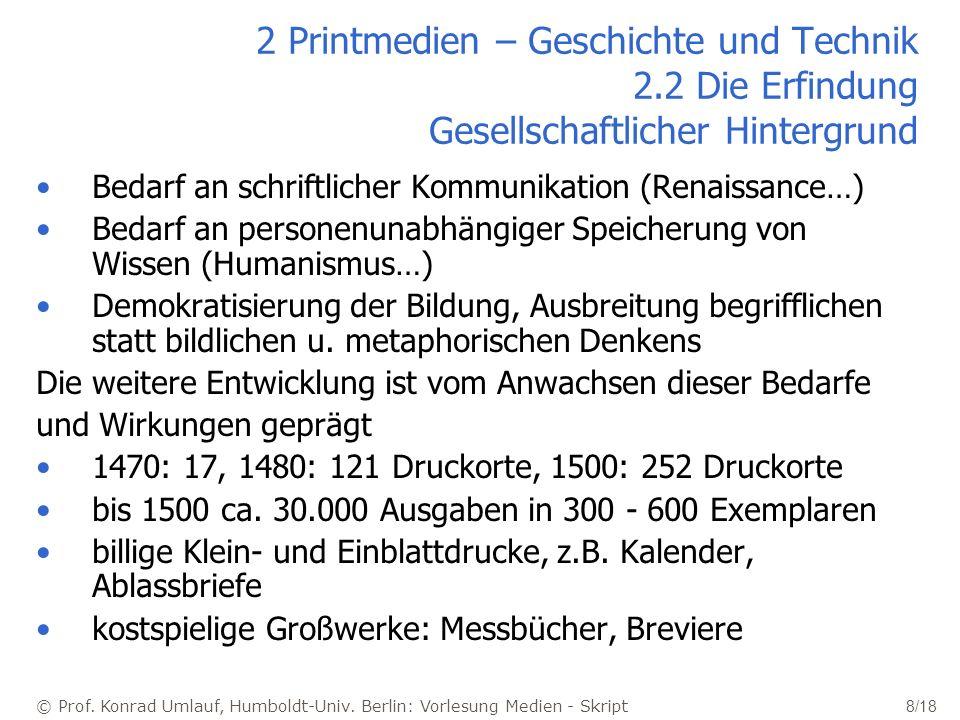 © Prof. Konrad Umlauf, Humboldt-Univ. Berlin: Vorlesung Medien - Skript 8/18 2 Printmedien – Geschichte und Technik 2.2 Die Erfindung Gesellschaftlich