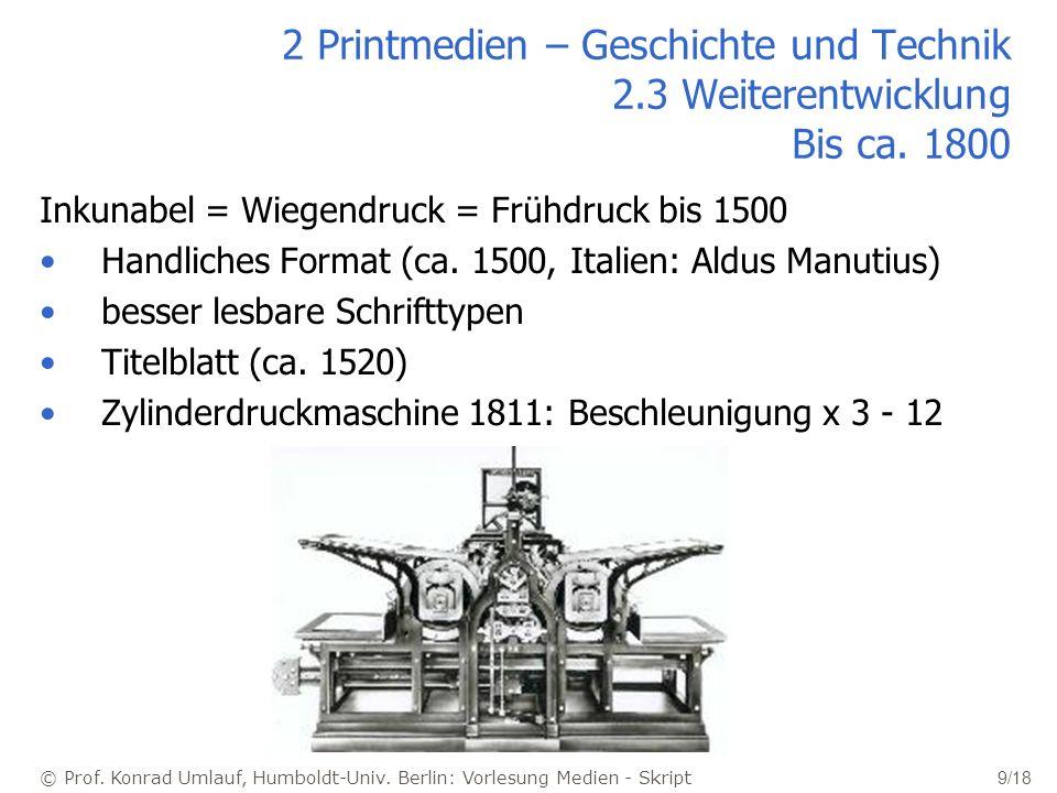 © Prof. Konrad Umlauf, Humboldt-Univ. Berlin: Vorlesung Medien - Skript 9/18 2 Printmedien – Geschichte und Technik 2.3 Weiterentwicklung Bis ca. 1800