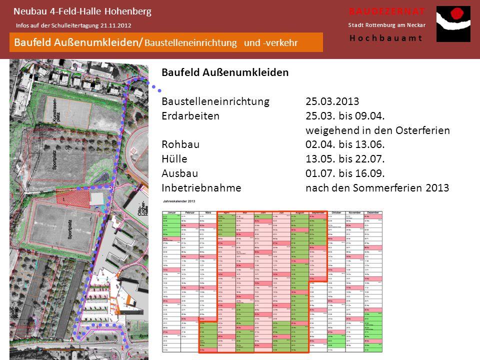 Baufeld Hohenberghalle/ Baustelleneinrichtung und -verkehr Neubau 4-Feld-Halle Hohenberg Infos auf der Schulleitertagung 21.11.2012 BAUDEZERNAT Stadt Rottenburg am Neckar Hochbauamt