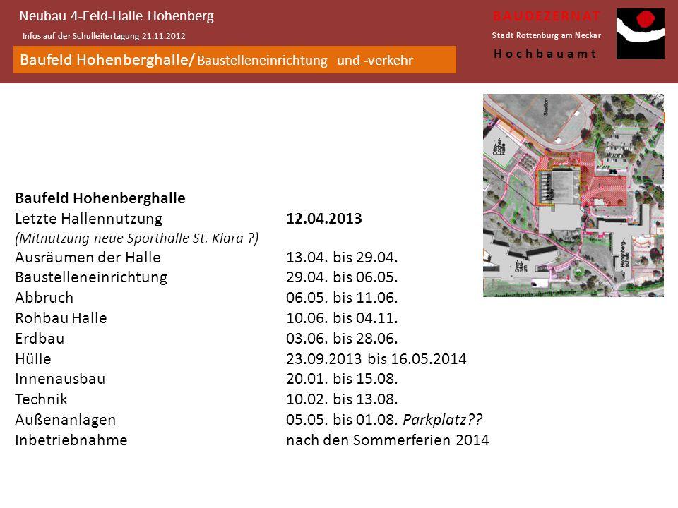 Ansichtanimation von der Grünen Mitte Neubau 4-Feld-Halle Hohenberg Infos auf der Schulleitertagung 21.11.2012 BAUDEZERNAT Stadt Rottenburg am Neckar Hochbauamt