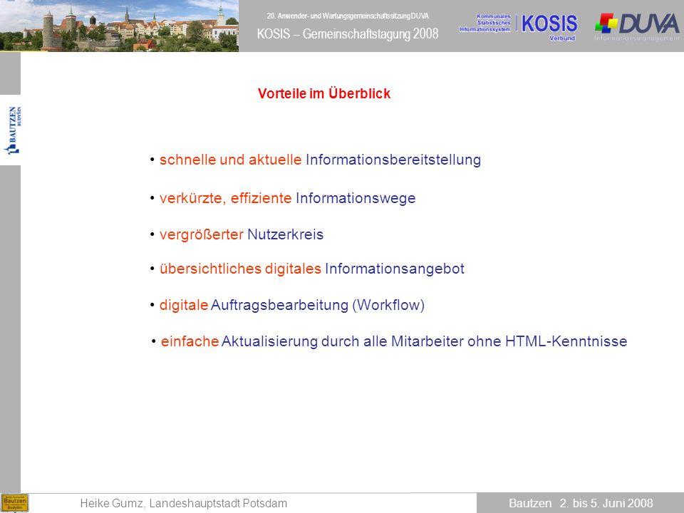 20.Anwender- und Wartungsgemeinschaftssitzung DUVA Heike Gumz, Landeshauptstadt Potsdam Bautzen 2.