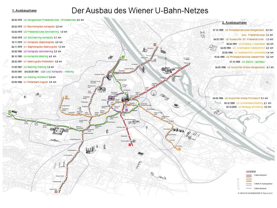 Der Ausbau des Wiener U-Bahn-Netzes 04.05.1996 U6 Nußdorfer Straße-Floridsdorf 5,1 km 04.05.1996 U6 Nußdorfer Straße-Heiligenstadt -2,1 km 05.12.1998