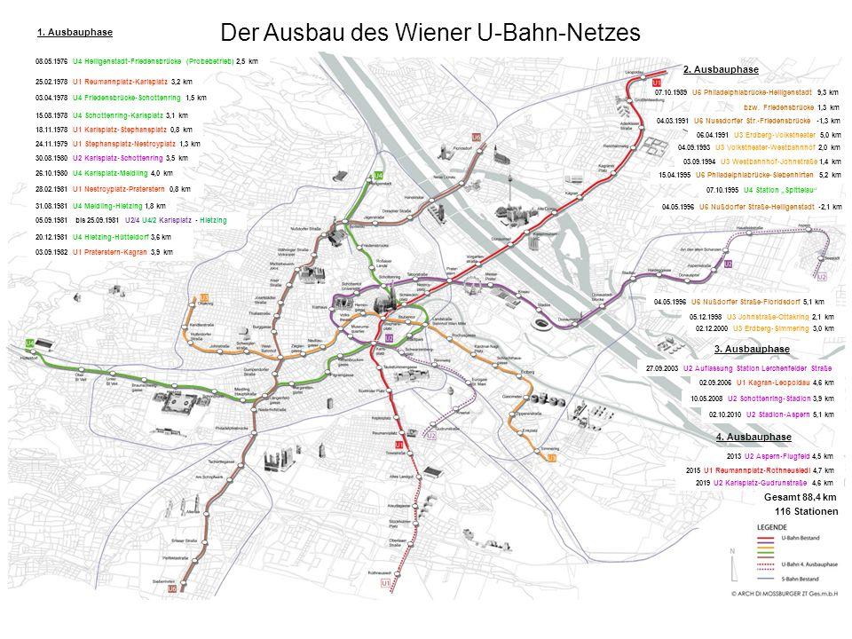 1. Ausbauphase 08.05.1976 U4 Heiligenstadt-Friedensbrücke (Probebetrieb) 2,5 km Der Ausbau des Wiener U-Bahn-Netzes 25.02.1978 U1 Reumannplatz-Karlspl