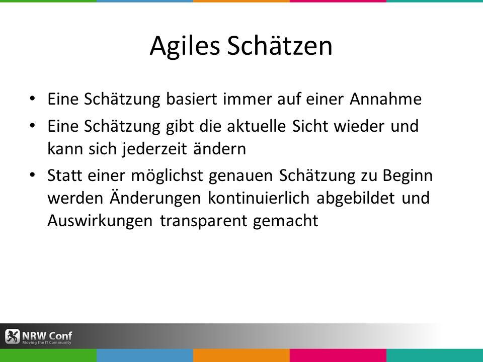 Agiles Schätzen Eine Schätzung basiert immer auf einer Annahme Eine Schätzung gibt die aktuelle Sicht wieder und kann sich jederzeit ändern Statt einer möglichst genauen Schätzung zu Beginn werden Änderungen kontinuierlich abgebildet und Auswirkungen transparent gemacht