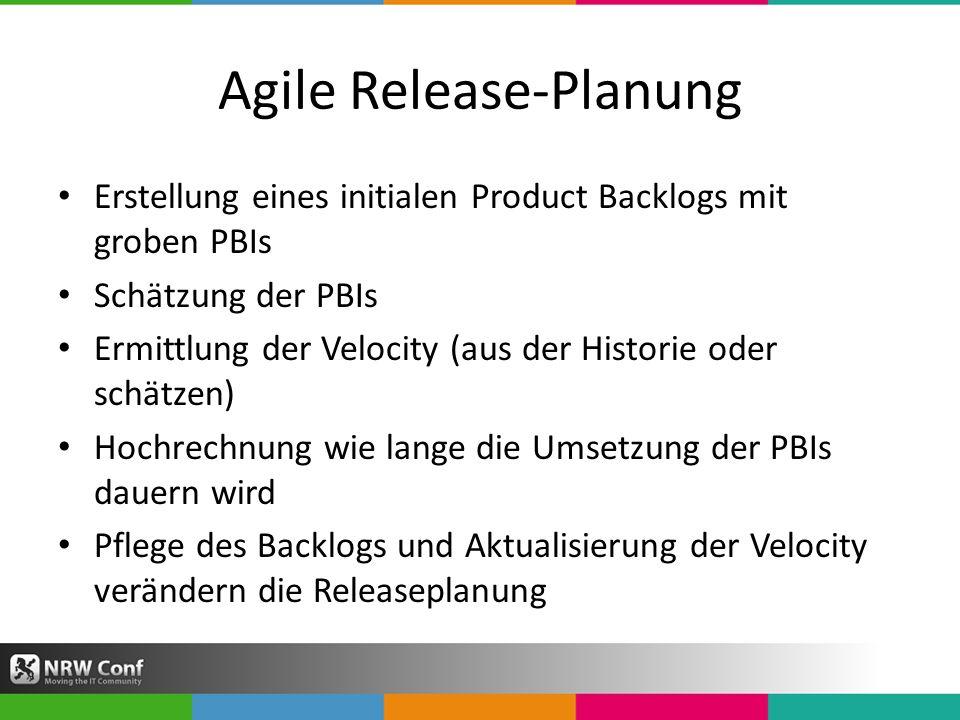 Agile Release-Planung Erstellung eines initialen Product Backlogs mit groben PBIs Schätzung der PBIs Ermittlung der Velocity (aus der Historie oder schätzen) Hochrechnung wie lange die Umsetzung der PBIs dauern wird Pflege des Backlogs und Aktualisierung der Velocity verändern die Releaseplanung