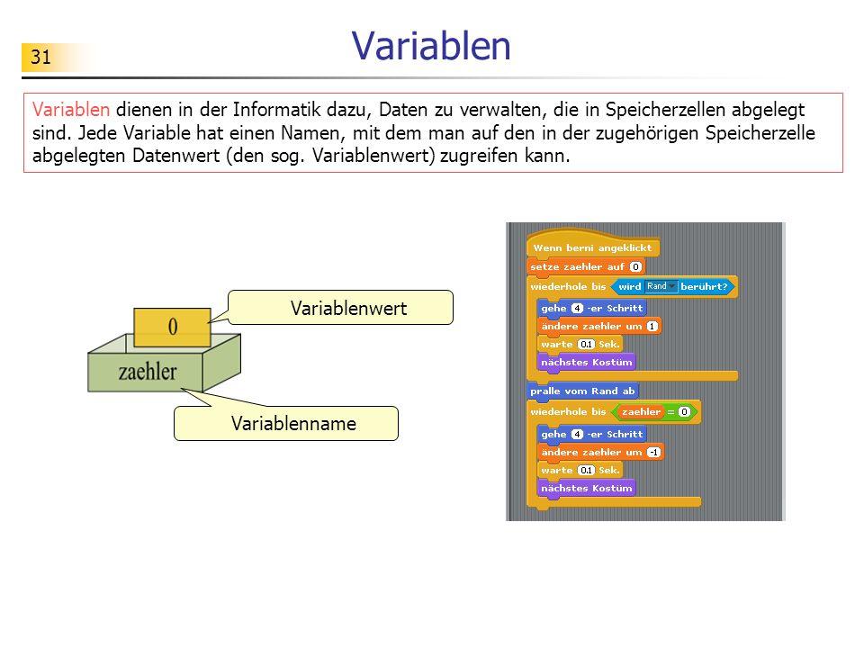 31 Variablen Variablen dienen in der Informatik dazu, Daten zu verwalten, die in Speicherzellen abgelegt sind.