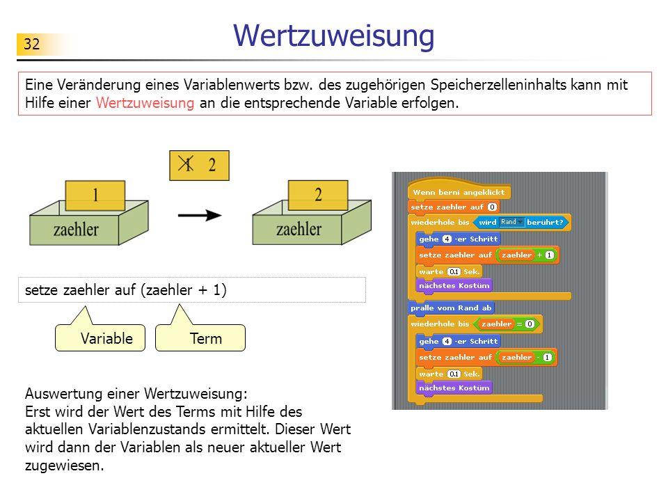 32 Wertzuweisung Eine Veränderung eines Variablenwerts bzw.