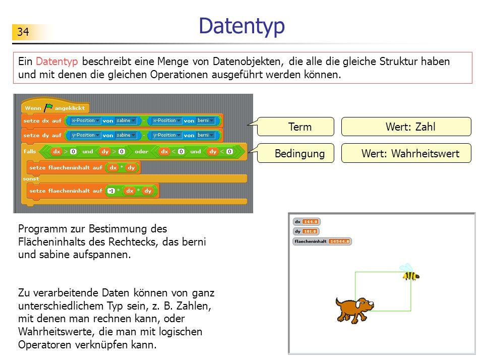 34 Datentyp Ein Datentyp beschreibt eine Menge von Datenobjekten, die alle die gleiche Struktur haben und mit denen die gleichen Operationen ausgeführt werden können.