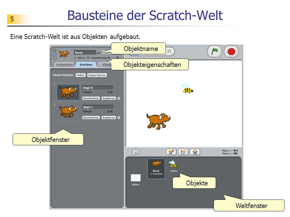 5 Bausteine der Scratch-Welt Eine Scratch-Welt ist aus Objekten aufgebaut.