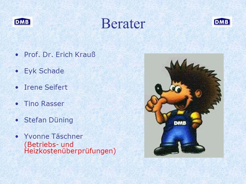 Berater Prof. Dr. Erich Krauß Eyk Schade Irene Seifert Tino Rasser Stefan Düning Yvonne Täschner (Betriebs- und Heizkostenüberprüfungen)