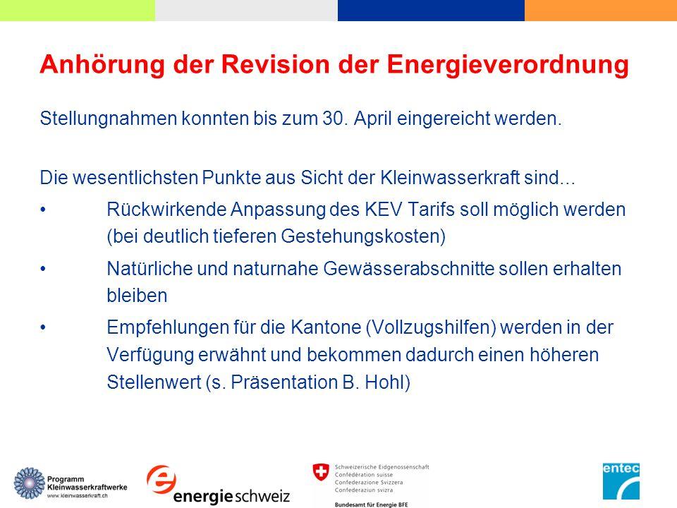 Anhörung der Revision der Energieverordnung Stellungnahmen konnten bis zum 30. April eingereicht werden. Die wesentlichsten Punkte aus Sicht der Klein