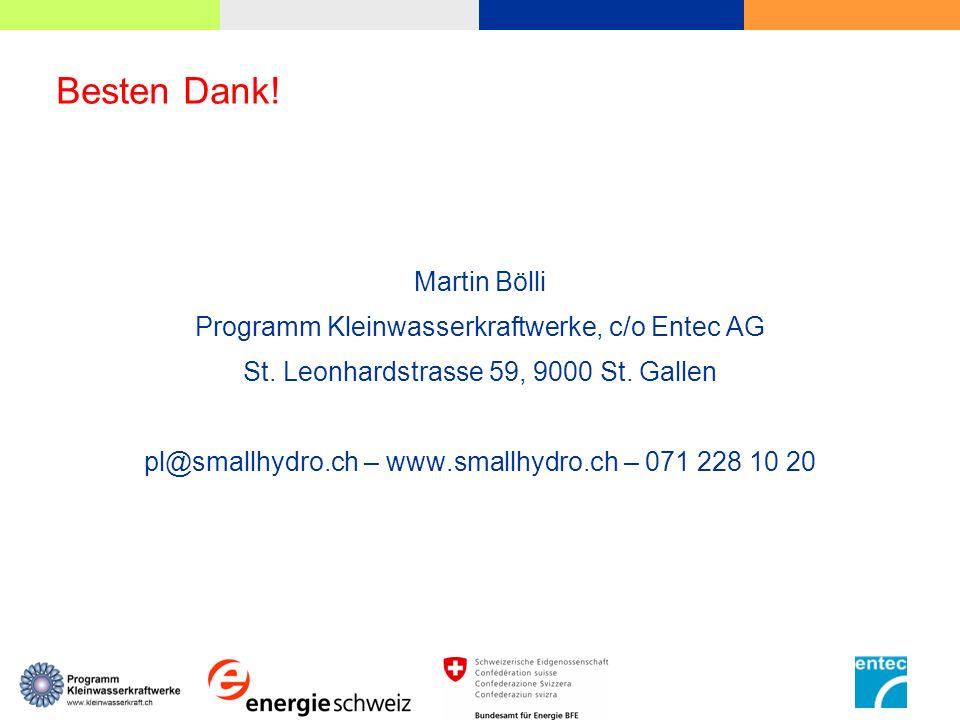 Besten Dank! Martin Bölli Programm Kleinwasserkraftwerke, c/o Entec AG St. Leonhardstrasse 59, 9000 St. Gallen pl@smallhydro.ch – www.smallhydro.ch –