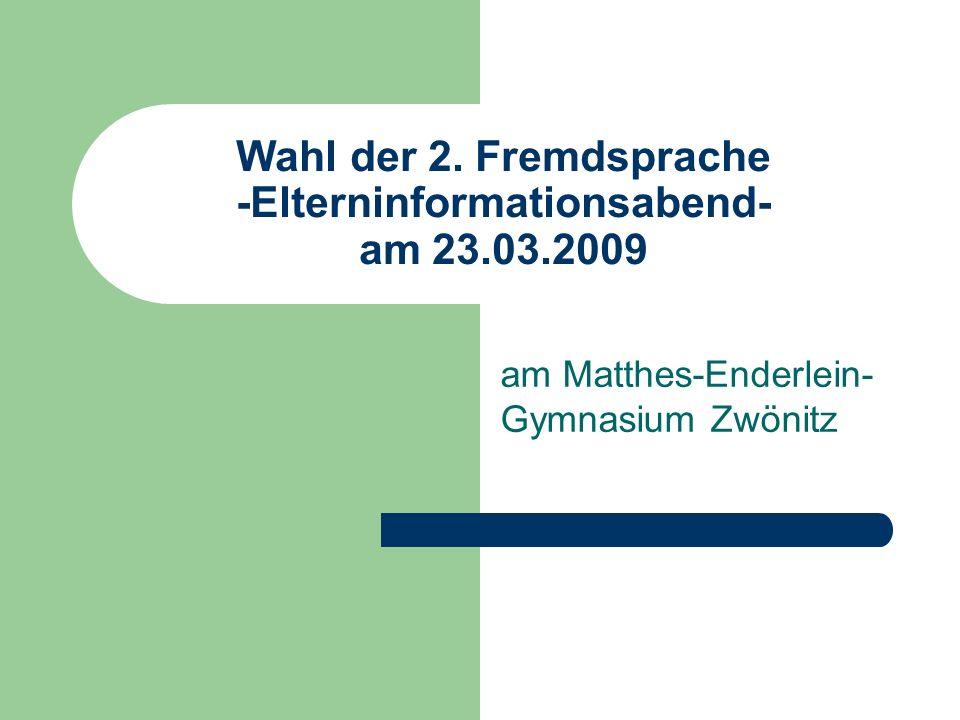 2.Fremdsprache am Gymnasium ab Klasse 6 Unterricht in der 2.