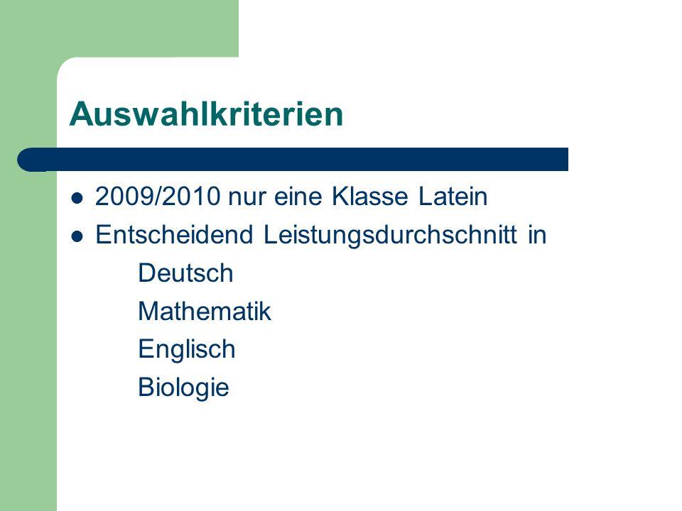 Auswahlkriterien 2009/2010 nur eine Klasse Latein Entscheidend Leistungsdurchschnitt in Deutsch Mathematik Englisch Biologie