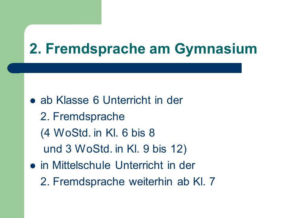 2. Fremdsprache am Gymnasium ab Klasse 6 Unterricht in der 2.