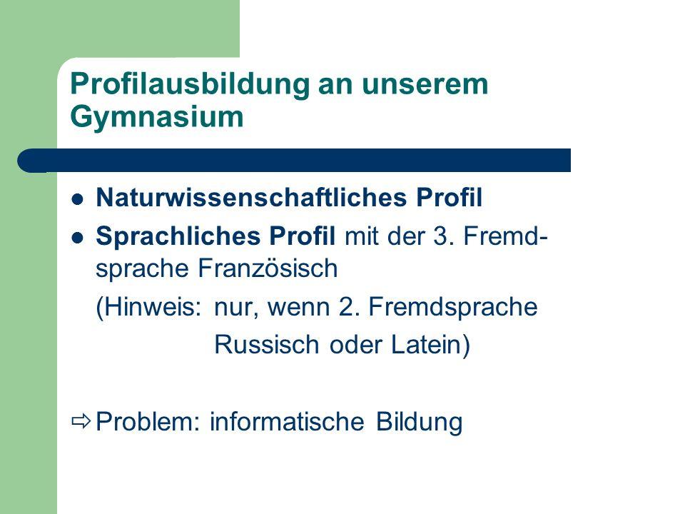 Ausbildung Informatik Informatik Kl.7/8 eine WoStd.